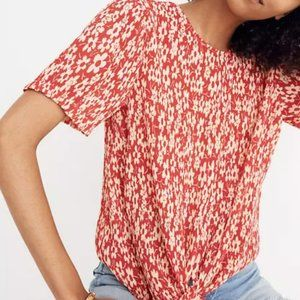 EUC Madewell Crinkled Button-Back Tie Tee